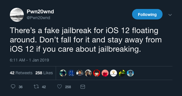 Fake iOS 12.3 jailbreak