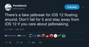 Fake iOS 12.3 jailbreak